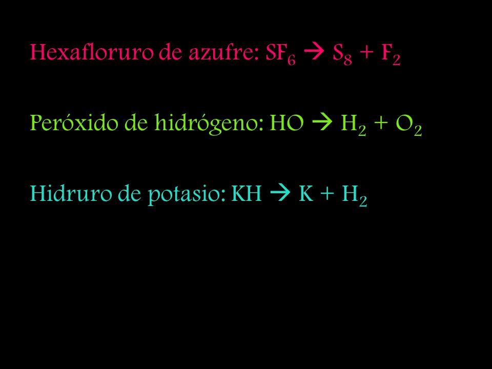 Pentacloruro de fósforo: PCl 5 P + Cl 2 Trióxido de azufre: SO 3 S 8 + O 2 Pentóxido de dinitrógeno: N 2 O 5 N 2 + O 2