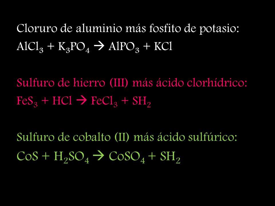 Nitrato de plata más cloruro de potasio: AgNO 3 + KCl AgCl + KNO 3 Nitrito de plata más cloruro de sodio: Ag 2 SO 4 + NaCl AgCl + Na 2 SO 4 Cromato de