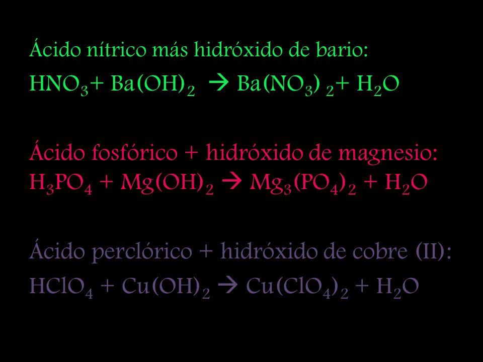 Ácido clorhídrico más hidróxido de potasio: HCl + KOH KCl + H 2 O Ácido clorhídrico más hidróxido de aluminio: HCl + Al(OH) 3 Al 3 Cl + H 2 O Ácido su