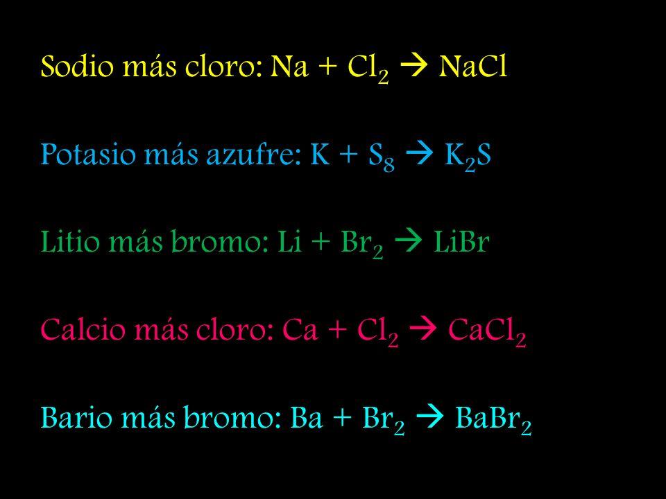 Sodio más cloro: Na + Cl 2 NaCl Potasio más azufre: K + S 8 K 2 S Litio más bromo: Li + Br 2 LiBr Calcio más cloro: Ca + Cl 2 CaCl 2 Bario más bromo: Ba + Br 2 BaBr 2