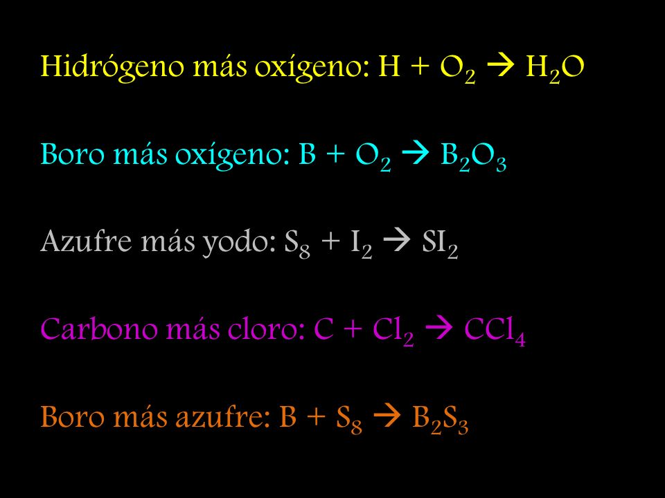 Ácido clorhídrico más hidróxido de potasio: HCl + KOH KCl + H 2 O Ácido clorhídrico más hidróxido de aluminio: HCl + Al(OH) 3 Al 3 Cl + H 2 O Ácido sulfúrico más hidróxido de calcio: H 2 SO 4 + Ca(OH) 2 CaSO 4 + H 2 O