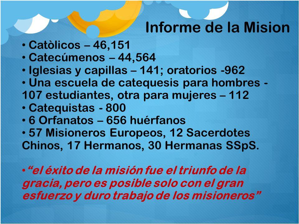 Catòlicos – 46,151 Catecúmenos – 44,564 Iglesias y capillas – 141; oratorios -962 Una escuela de catequesis para hombres - 107 estudiantes, otra para