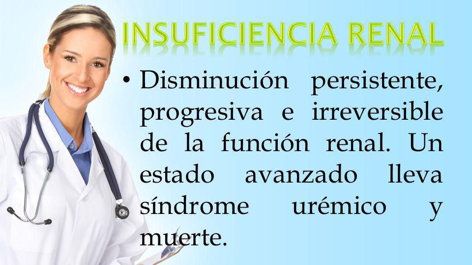 Síndrome caracterizado por disminución del filtrado glomerular (horas/días) retención de productos de desecho nitrogenados y alteración del equilibrio hidroelectrolítico y acidobásico.