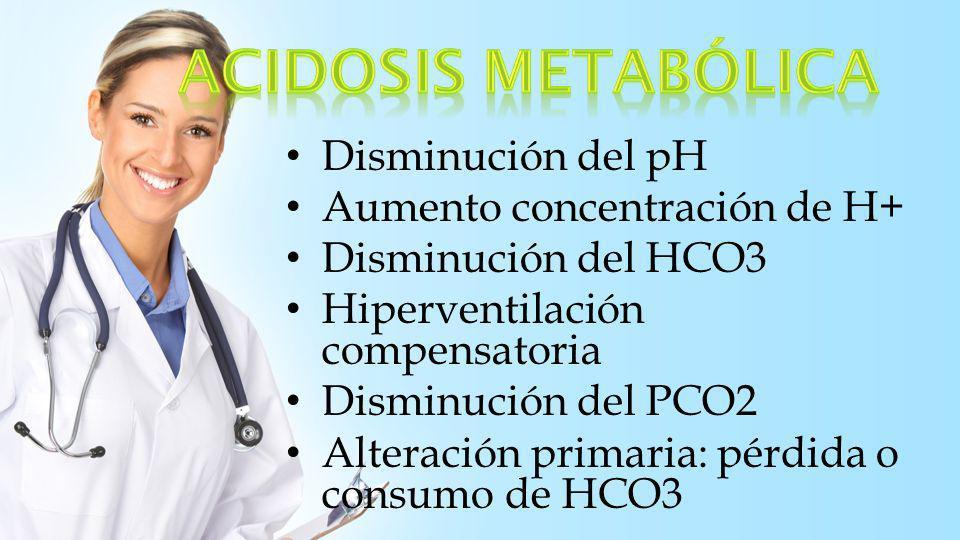 Elevación pH Disminución H+ Aumento HCO3 plasmático Hipoventilación compensatoria Aumento del PCO2 Alteración primaria elevación HCO3 * Sobrecarga alcalina, perdidas de ácidos (equivale a ganancia de HCO3)