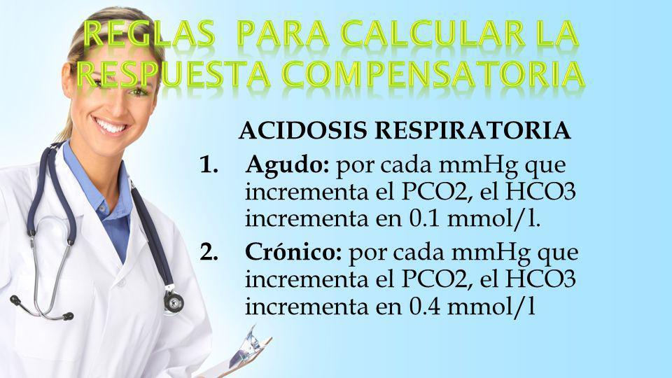 ALCALOSIS RESPIRATORIA 1.Agudo: por cada mmHg que cae el PCO2, el HCO3 disminuye en 0.2 mmol/l.