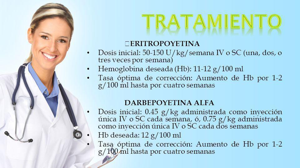 ERITROPOYETINA Dosis inicial: 50-150 U/kg/semana IV o SC (una, dos, o tres veces por semana) Hemoglobina deseada (Hb): 11-12 g/100 ml Tasa óptima de c