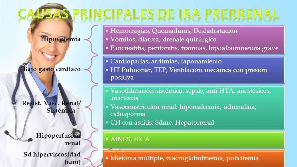 Obstrucción vasculo renal Obstrucción Aa Renal: ateroma, trombo, embolia Obstrucción Vv renal: trombosis, compresión Enfermedad glomerular GNF, vasculitis, púrpura trombótica trombocitopénica, CID, toxemia del embarazo, Sd hemolítico urémico, LES, esclerodermia Necrosis Tubular Aguda Isquemia, complicaciones obstétricas Toxinas exógenas (radiación, fármacos) endógenas (hemólisis, ác.
