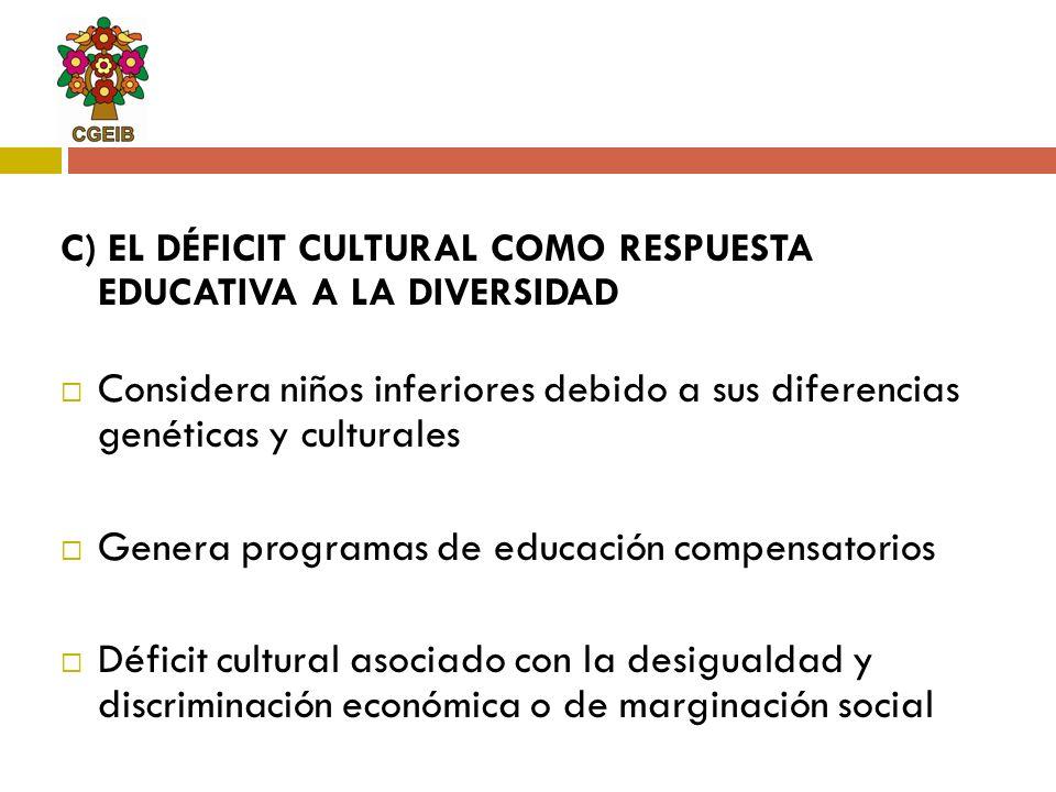 C) EL DÉFICIT CULTURAL COMO RESPUESTA EDUCATIVA A LA DIVERSIDAD Considera niños inferiores debido a sus diferencias genéticas y culturales Genera prog