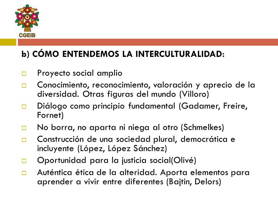 b) CÓMO ENTENDEMOS LA INTERCULTURALIDAD: Proyecto social amplio Conocimiento, reconocimiento, valoración y aprecio de la diversidad.