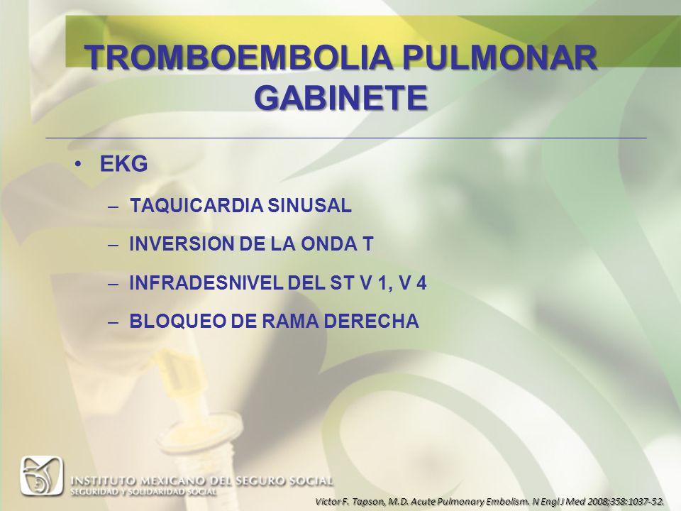 TROMBOEMBOLIA PULMONAR GABINETE EKG –TAQUICARDIA SINUSAL –INVERSION DE LA ONDA T –INFRADESNIVEL DEL ST V 1, V 4 –BLOQUEO DE RAMA DERECHA Victor F. Tap