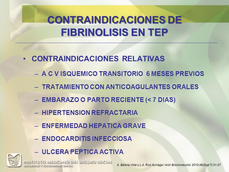CONTRAINDICACIONES DE FIBRINOLISIS EN TEP CONTRAINDICACIONES RELATIVAS –A C V ISQUEMICO TRANSITORIO 6 MESES PREVIOS –TRATAMIENTO CON ANTICOAGULANTES O