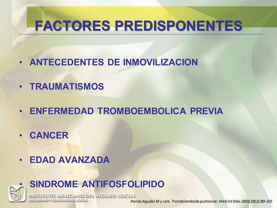 FACTORES PREDISPONENTES ANTECEDENTES DE INMOVILIZACION TRAUMATISMOS ENFERMEDAD TROMBOEMBOLICA PREVIA CANCER EDAD AVANZADA SINDROME ANTIFOSFOLIPIDO Por