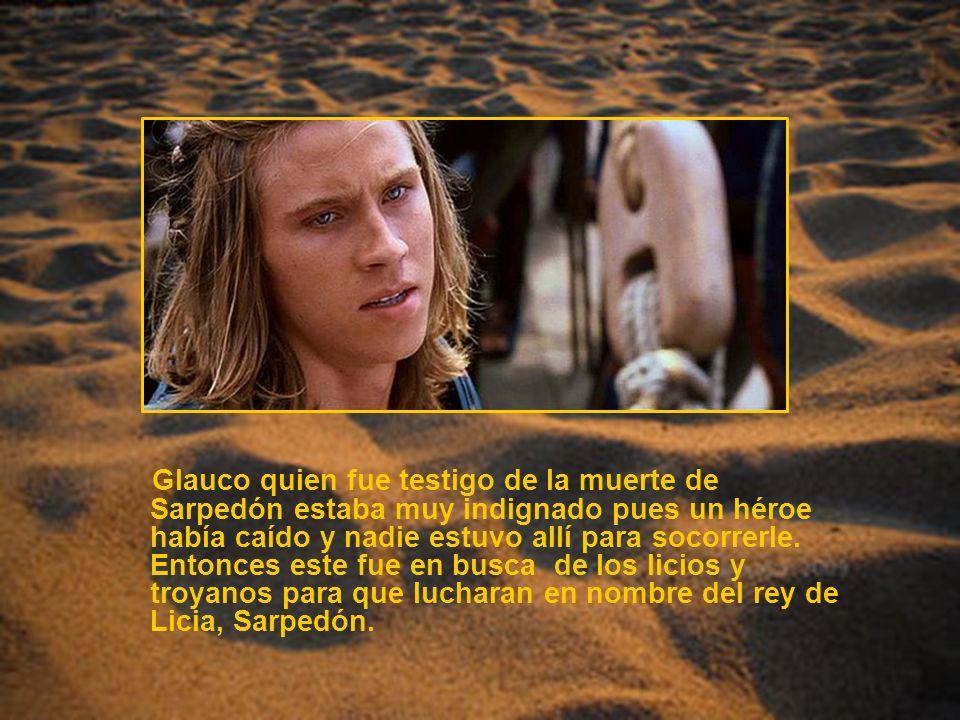 Glauco quien fue testigo de la muerte de Sarpedón estaba muy indignado pues un héroe había caído y nadie estuvo allí para socorrerle. Entonces este fu