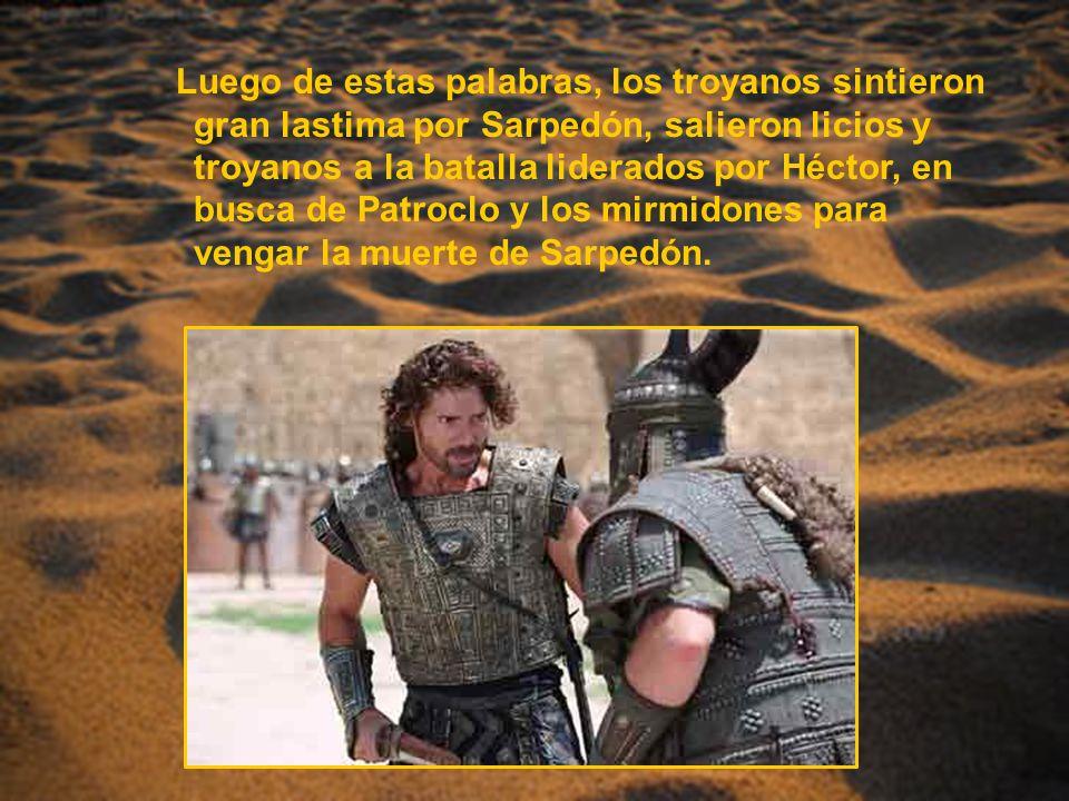 Luego de estas palabras, los troyanos sintieron gran lastima por Sarpedón, salieron licios y troyanos a la batalla liderados por Héctor, en busca de P