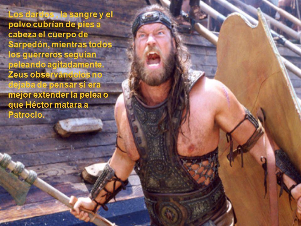 Los dardos, la sangre y el polvo cubrían de pies a cabeza el cuerpo de Sarpedón, mientras todos los guerreros seguían peleando agitadamente. Zeus obse