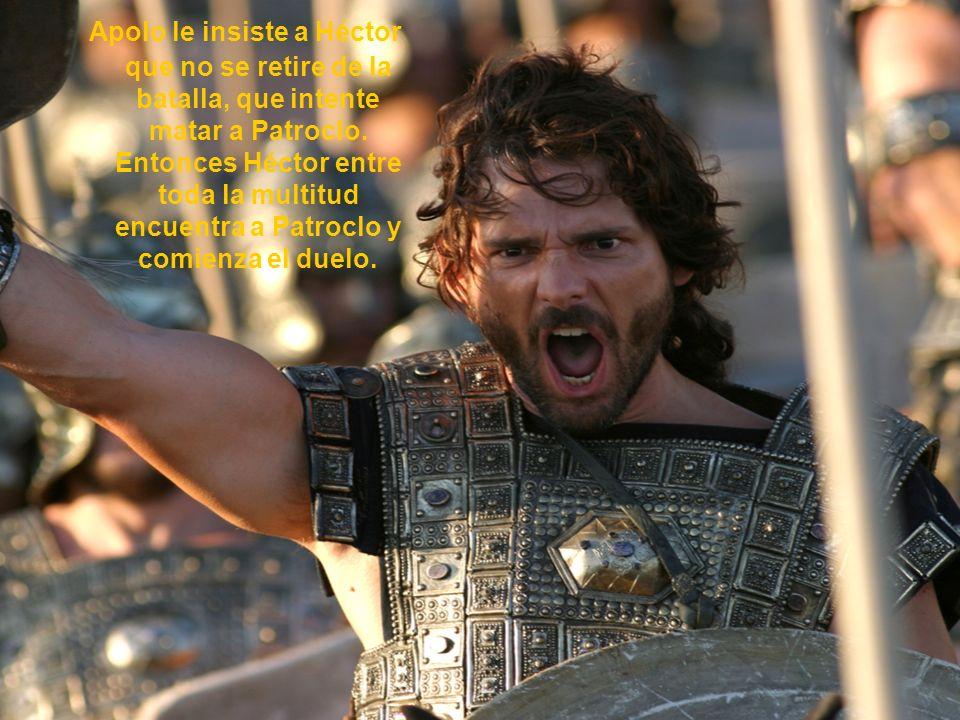 Apolo le insiste a Héctor que no se retire de la batalla, que intente matar a Patroclo. Entonces Héctor entre toda la multitud encuentra a Patroclo y