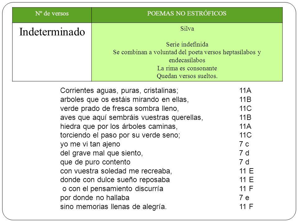 Nº de versosPOEMAS NO ESTRÓFICOS Indeterminado Silva Serie indefinida Se combinan a voluntad del poeta versos heptasílabos y endecasílabos La rima es consonante Quedan versos sueltos.