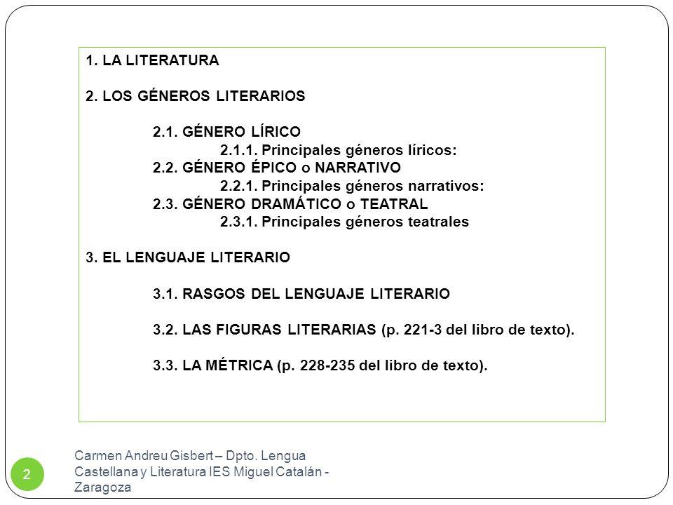 Carmen Andreu Gisbert – Dpto.Lengua Castellana y Literatura IES Miguel Catalán - Zaragoza 2 1.