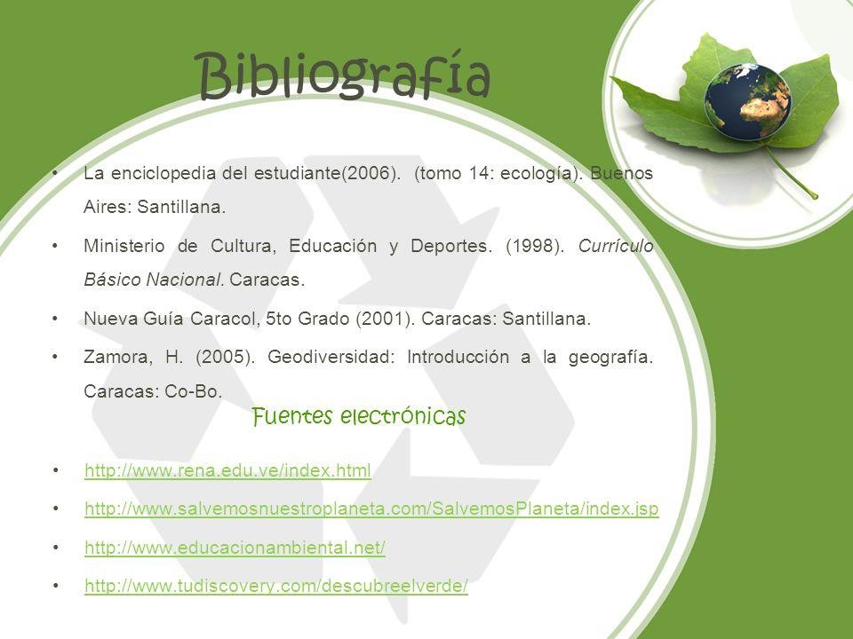 Bibliografía La enciclopedia del estudiante(2006). (tomo 14: ecología). Buenos Aires: Santillana. Ministerio de Cultura, Educación y Deportes. (1998).