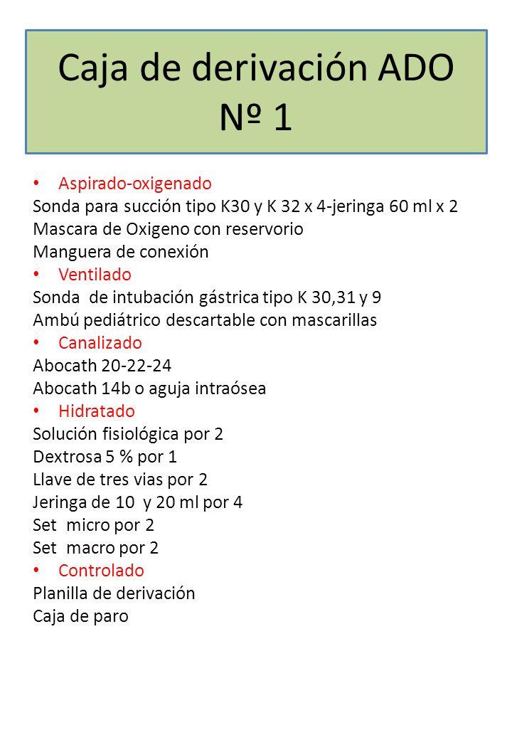Caja de derivación ADO Nº 1 Aspirado-oxigenado Sonda para succión tipo K30 y K 32 x 4-jeringa 60 ml x 2 Mascara de Oxigeno con reservorio Manguera de