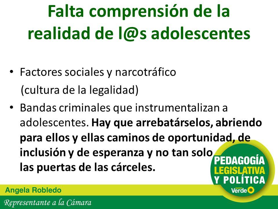Factores sociales y narcotráfico (cultura de la legalidad) Bandas criminales que instrumentalizan a adolescentes. Hay que arrebatárselos, abriendo par