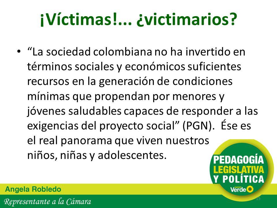 ¡Víctimas!... ¿victimarios? La sociedad colombiana no ha invertido en términos sociales y económicos suficientes recursos en la generación de condicio