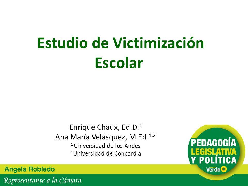 Estudio de Victimización Escolar Enrique Chaux, Ed.D. 1 Ana María Velásquez, M.Ed. 1,2 1 Universidad de los Andes 2 Universidad de Concordia