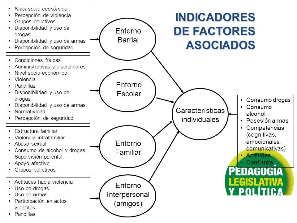 INDICADORES DE FACTORES ASOCIADOS Entorno Barrial Entorno Escolar Entorno Familiar Entorno Interpersonal (amigos) Características individuales Consumo