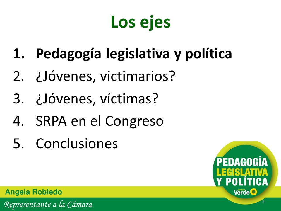 Los ejes 1.Pedagogía legislativa y política 2.¿Jóvenes, victimarios? 3.¿Jóvenes, víctimas? 4.SRPA en el Congreso 5.Conclusiones 3