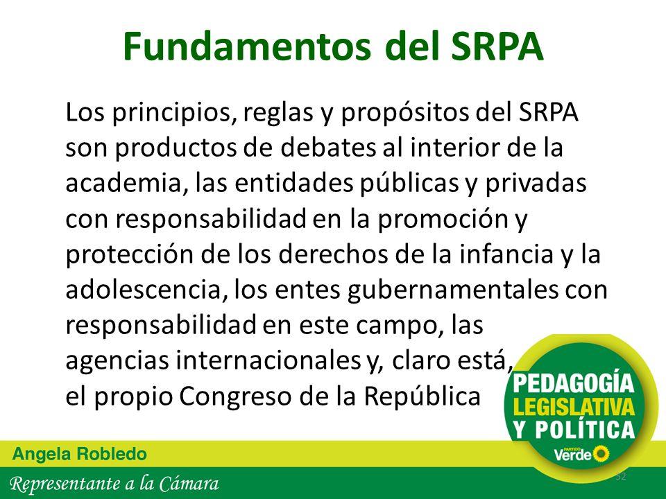Fundamentos del SRPA Los principios, reglas y propósitos del SRPA son productos de debates al interior de la academia, las entidades públicas y privad
