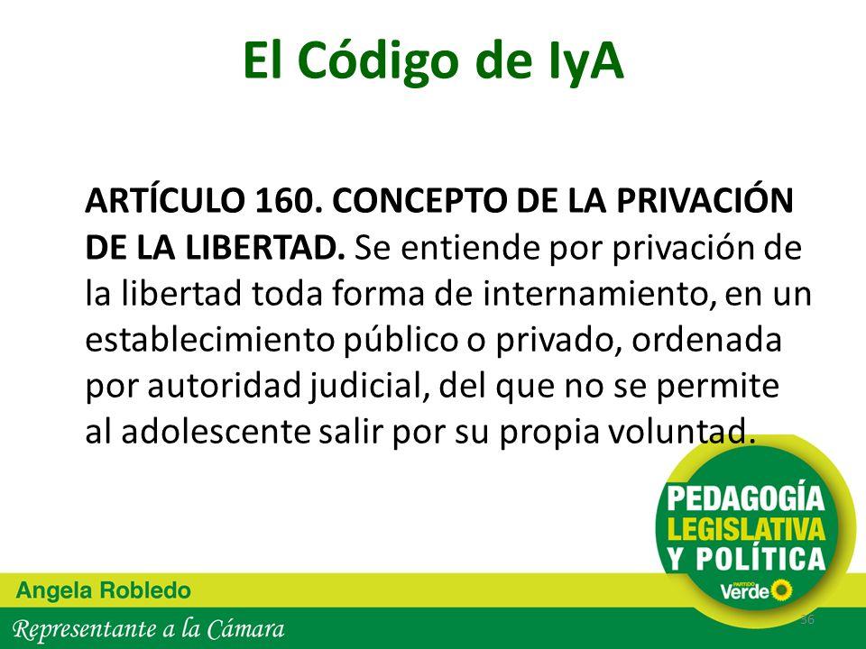 El Código de IyA ARTÍCULO 160. CONCEPTO DE LA PRIVACIÓN DE LA LIBERTAD. Se entiende por privación de la libertad toda forma de internamiento, en un es