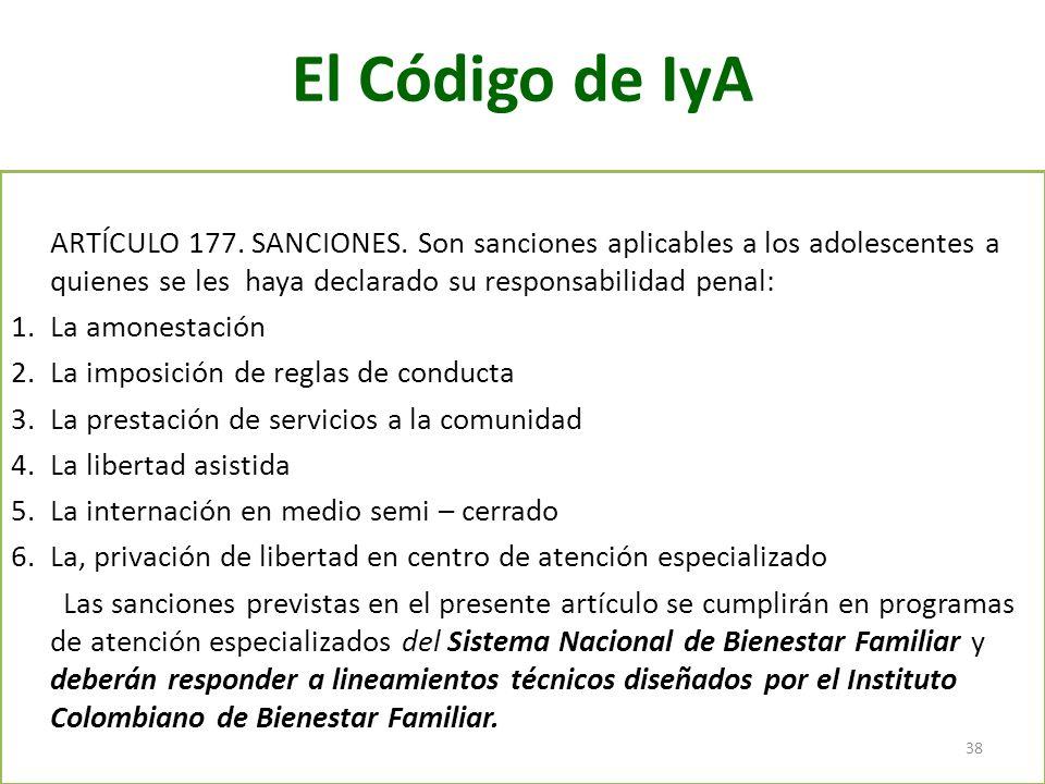 El Código de IyA ARTÍCULO 177. SANCIONES. Son sanciones aplicables a los adolescentes a quienes se les haya declarado su responsabilidad penal: 1.La a