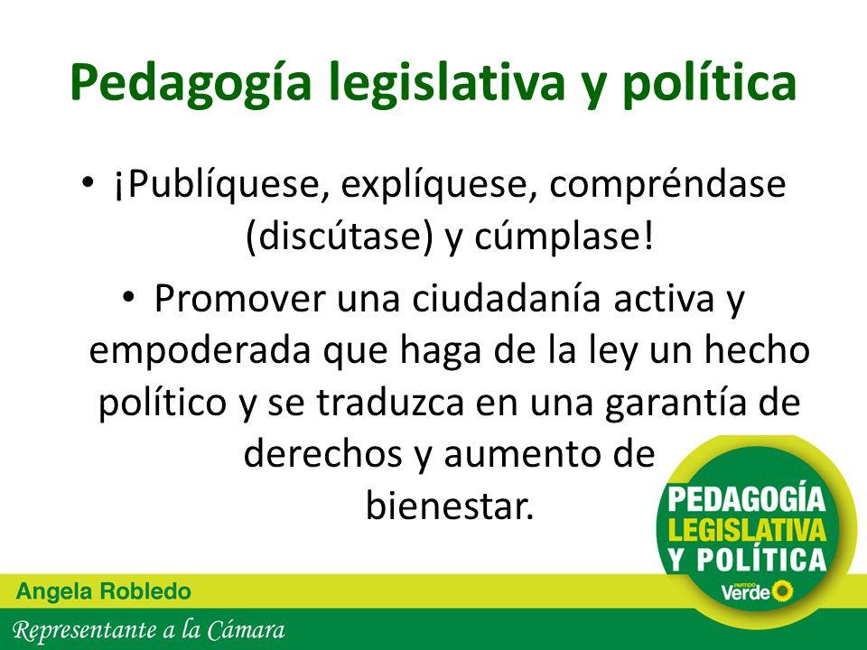 Pedagogía legislativa y política Ha sido un proceso de auto y mutua pedagogía (en el Congreso y afuera) Política: arte de estar juntos los distintos…aprender estar juntos los distintos