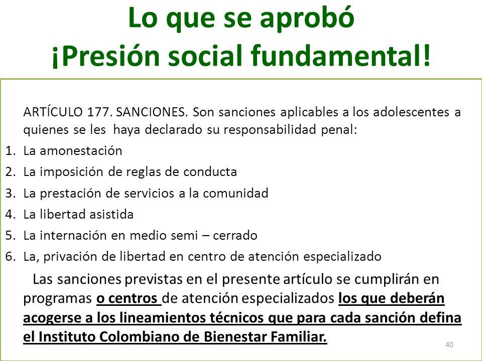 Lo que se aprobó ¡Presión social fundamental! ARTÍCULO 177. SANCIONES. Son sanciones aplicables a los adolescentes a quienes se les haya declarado su