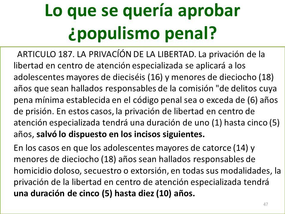 Lo que se quería aprobar ¿populismo penal? ARTICULO 187. LA PRIVACÍÓN DE LA LIBERTAD. La privación de la libertad en centro de atención especializada