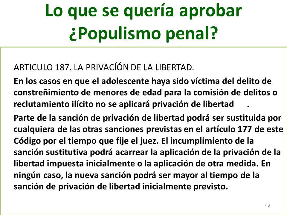 Lo que se quería aprobar ¿Populismo penal? ARTICULO 187. LA PRIVACÍÓN DE LA LIBERTAD. En los casos en que el adolescente haya sido víctima del delito