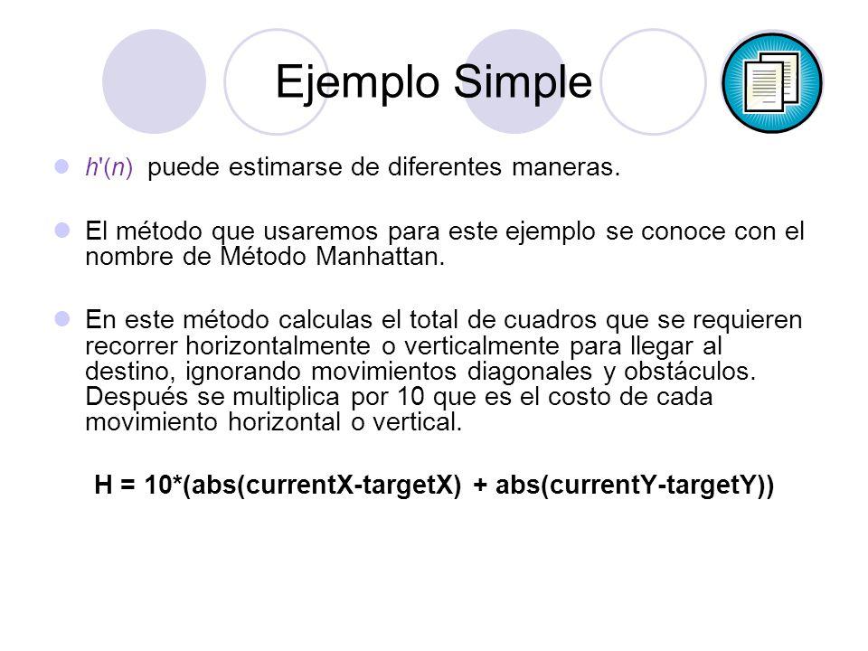 Ejemplo Simple h'(n) puede estimarse de diferentes maneras. El método que usaremos para este ejemplo se conoce con el nombre de Método Manhattan. En e