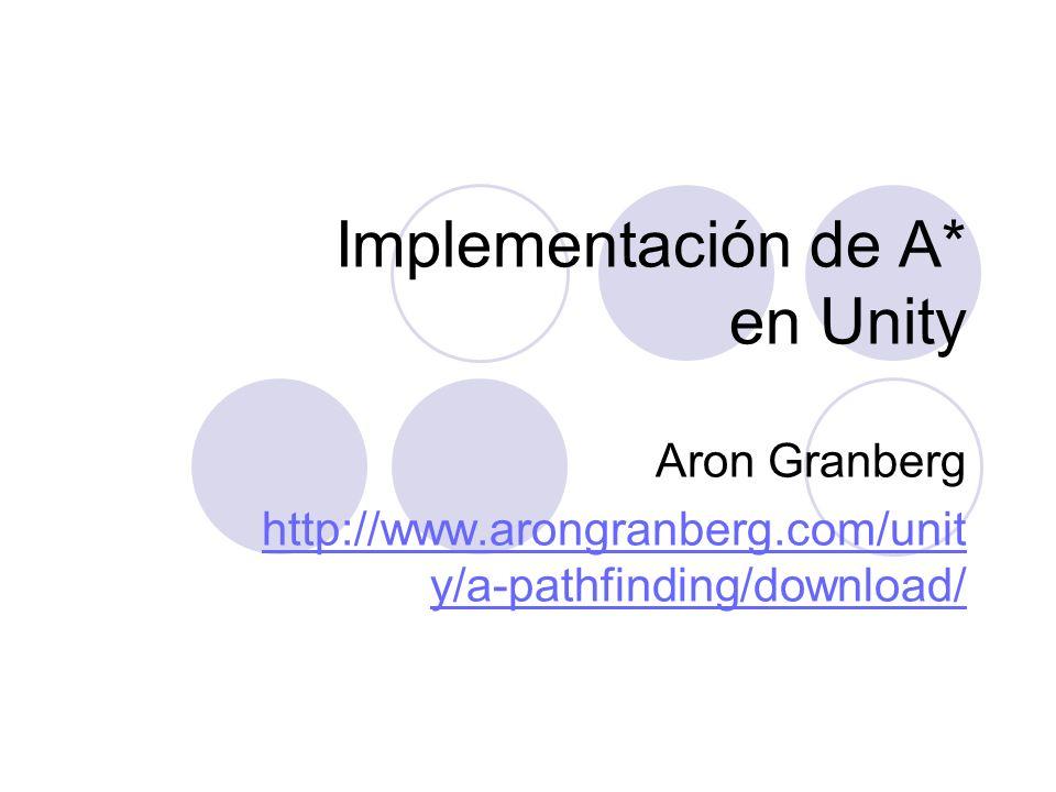 Implementación de A* en Unity Aron Granberg http://www.arongranberg.com/unit y/a-pathfinding/download/