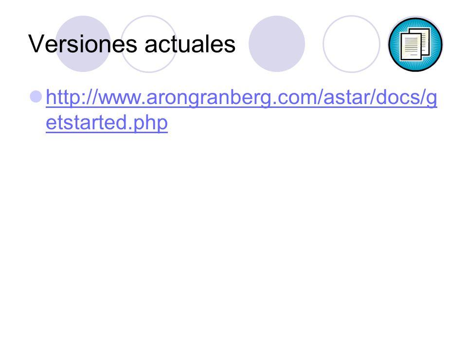 Versiones actuales http://www.arongranberg.com/astar/docs/g etstarted.php http://www.arongranberg.com/astar/docs/g etstarted.php
