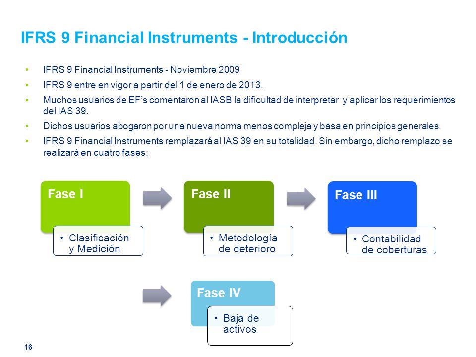 IFRS 9 Financial Instruments - Introducción IFRS 9 Financial Instruments - Noviembre 2009 IFRS 9 entre en vigor a partir del 1 de enero de 2013. Mucho