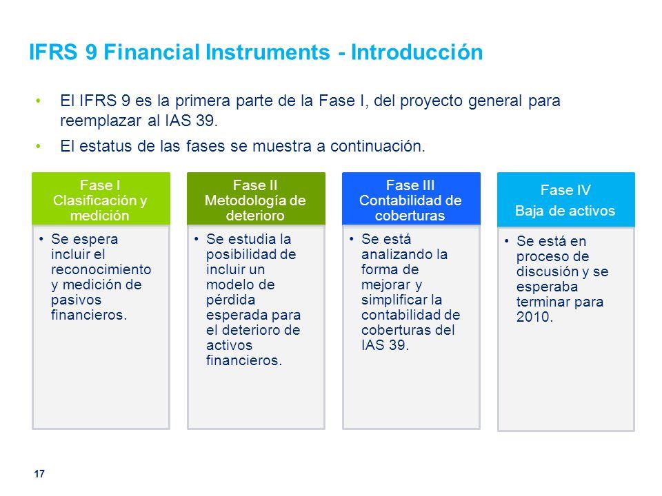 IFRS 9 Financial Instruments - Introducción El IFRS 9 es la primera parte de la Fase I, del proyecto general para reemplazar al IAS 39. El estatus de