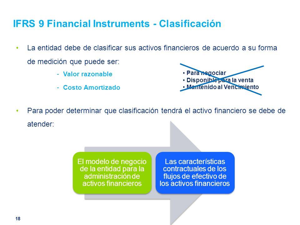 IFRS 9 Financial Instruments - Clasificación La entidad debe de clasificar sus activos financieros de acuerdo a su forma de medición que puede ser: -V