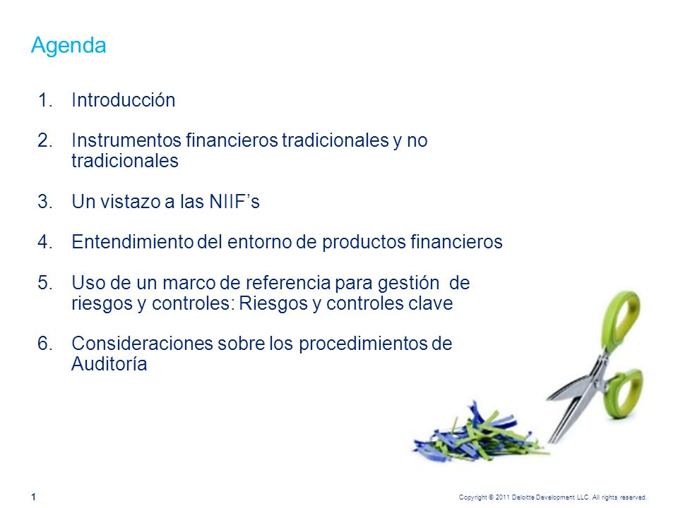 Copyright © 2011 Deloitte Development LLC. All rights reserved. 1 Agenda 1.Introducción 2.Instrumentos financieros tradicionales y no tradicionales 3.