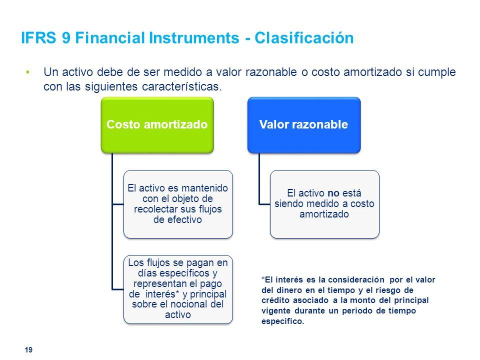 IFRS 9 Financial Instruments - Clasificación Un activo debe de ser medido a valor razonable o costo amortizado si cumple con las siguientes caracterís