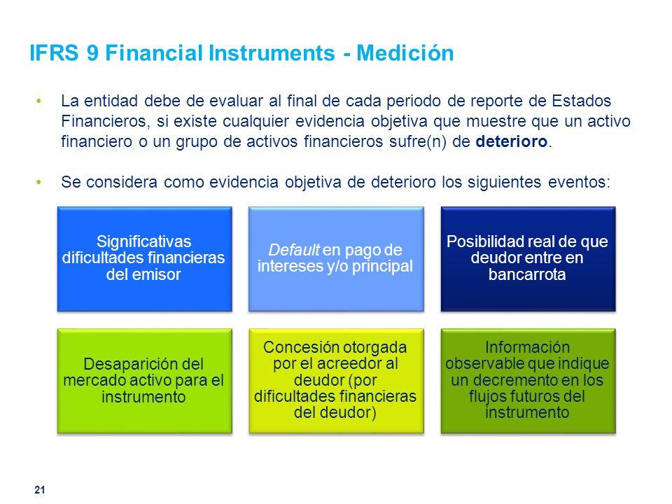 IFRS 9 Financial Instruments - Medición La entidad debe de evaluar al final de cada periodo de reporte de Estados Financieros, si existe cualquier evi