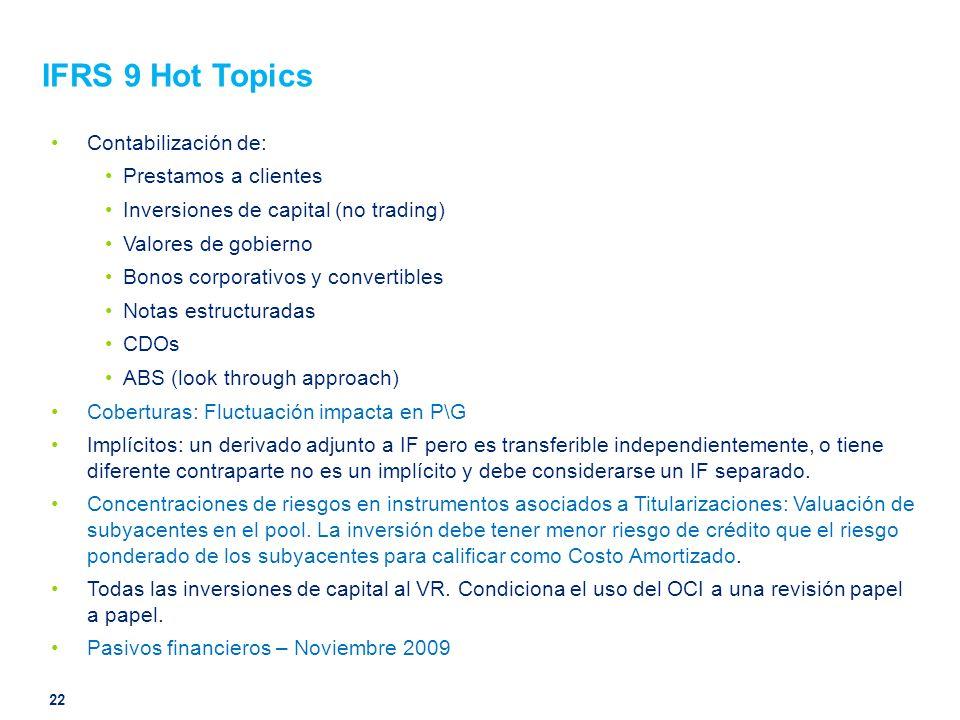 IFRS 9 Hot Topics Contabilización de: Prestamos a clientes Inversiones de capital (no trading) Valores de gobierno Bonos corporativos y convertibles N