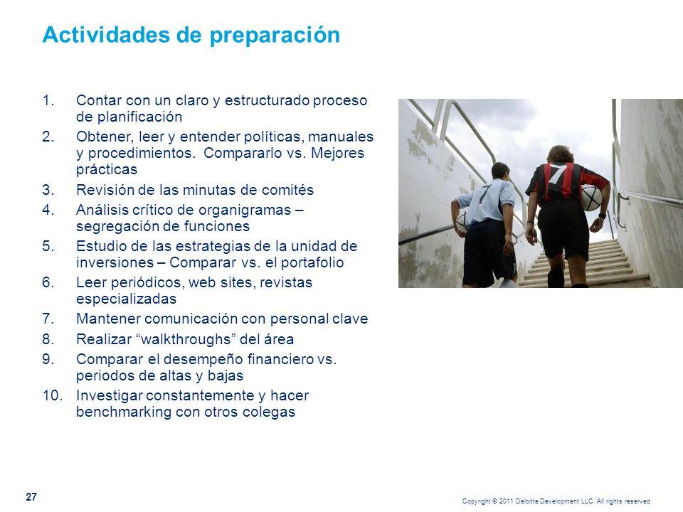 Copyright © 2011 Deloitte Development LLC. All rights reserved. 27 Actividades de preparación 1.Contar con un claro y estructurado proceso de planific