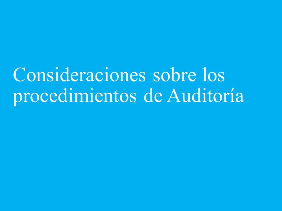 Consideraciones sobre los procedimientos de Auditoría