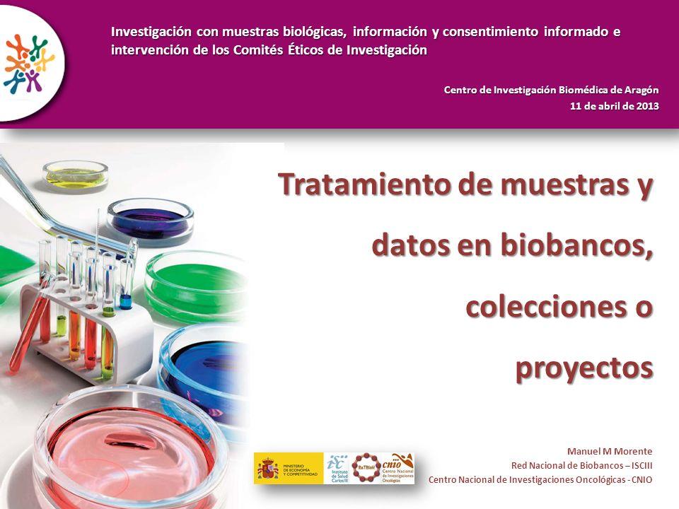 Repercusiones del RD 1716/2011 Tratamiento de muestras y datos en biobancos, colecciones o proyectos Manuel M Morente Red Nacional de Biobancos – ISCI