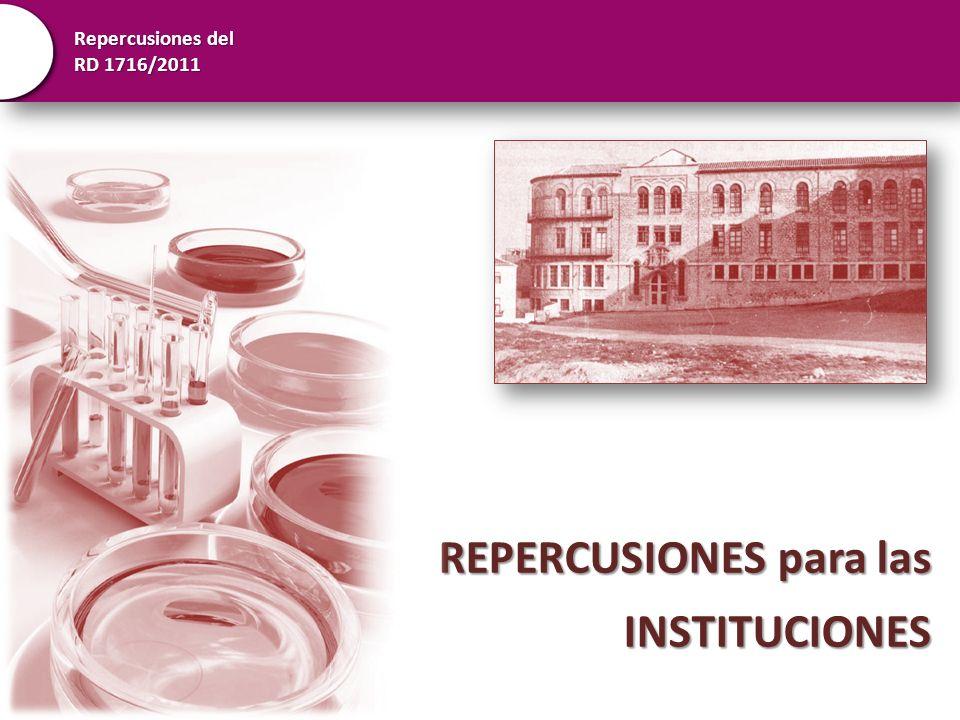 Repercusiones del RD 1716/2011 REPERCUSIONES para las INSTITUCIONES